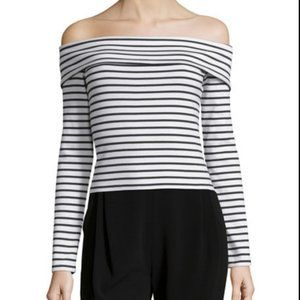 Derek Lam 10 Crosby Striped Off-the Shoulder Top